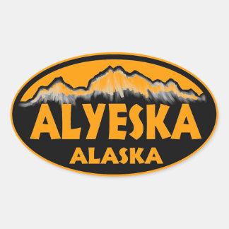 Alyeska Alaska orange oval stickers