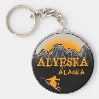 Alyeska Alaska orange skier keychain