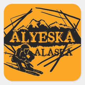 Alyeska Alaska orange skier stickers