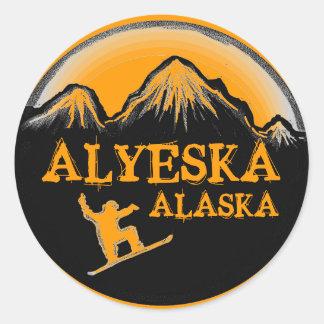 Alyeska Alaska orange snowboarder stickers