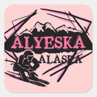 Alyeska Alaska pink skier stickers