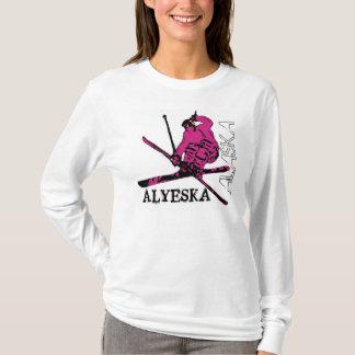 Alyeska Alaska pink skier theme ladies hoodie