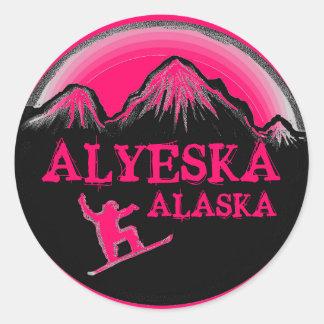 Alyeska Alaska pink snowboarder stickers
