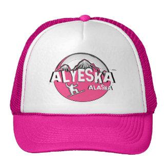 Alyeska Alaska pink theme snowboard hat