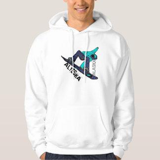 Alyeska Alaska teal snowboard guys hoodie