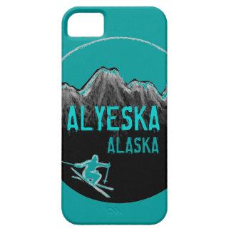 Alyeska Alaska teal theme skier iphone 5 case