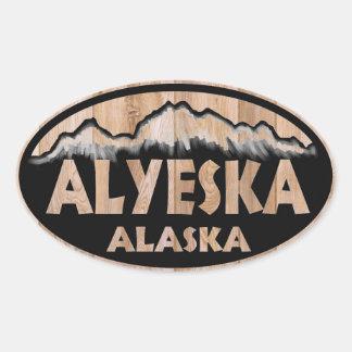 Alyeska Alaska wooden sign oval stickers