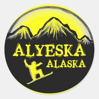Alyeska Alaska yellow snowboarder stickers