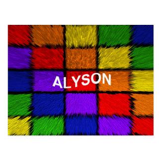 ALYSON (nombres femeninos) Tarjetas Postales