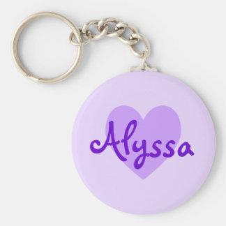 Alyssa en púrpura llaveros personalizados