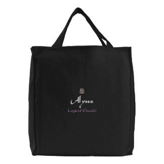 Alyssa Name With Greek Meaning Black Embroidered Tote Bags