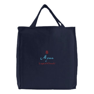 Alyssa Name With Greek Meaning Navy Embroidered Tote Bags