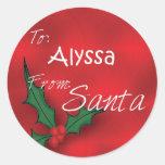 Alyssa personalizó etiquetas del regalo del acebo pegatina redonda