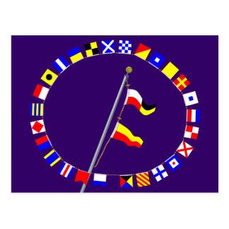 Alzamiento de la bandera de señal náutica del núme postales