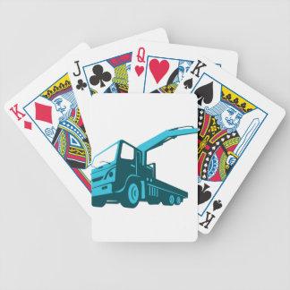 alzamiento del acarreo de la grúa del camión retro cartas de juego
