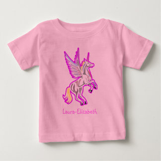 Alzar ángel de guarda del unicornio playera de bebé