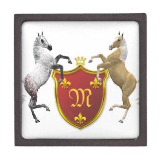 Alzar caballos con un escudo heráldico, con monogr cajas de recuerdo de calidad