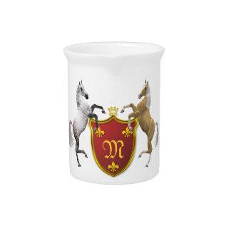 Alzar caballos con un escudo heráldico, con monogr jarron