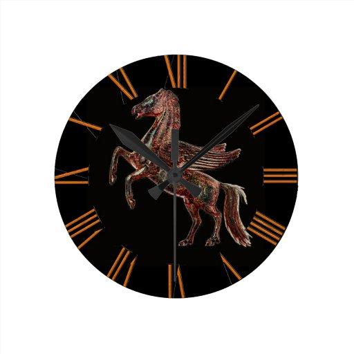 Alzar diseño griego histórico del arte de Pegaso Relojes De Pared