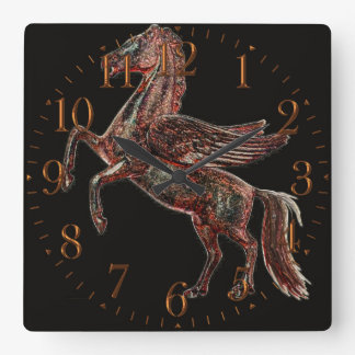 Alzar diseño griego histórico del arte de Pegaso Reloj Cuadrado