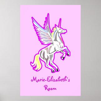 Alzar el poster del ángel de guarda del unicornio póster