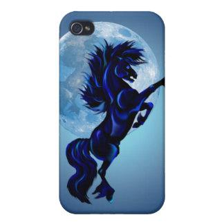 Alzar el semental y la luna azul 441__P iPhone 4 Cárcasas