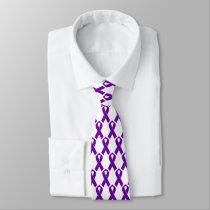 Alzheimer Awareness Purple Ribbon. Neck Tie