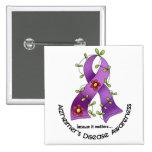 ALZHEIMER'S DISEASE AWARENESS Flower Ribbon 1 2 Inch Square Button