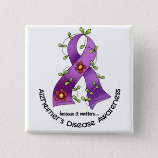 ALZHEIMER'S DISEASE AWARENESS Flower Ribbon 1 Button