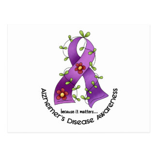 ALZHEIMER'S DISEASE AWARENESS Flower Ribbon 1 Postcard