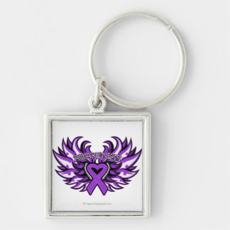 Alzheimer's Disease Awareness Heart Wings.png Silver-Colored Square Keychain