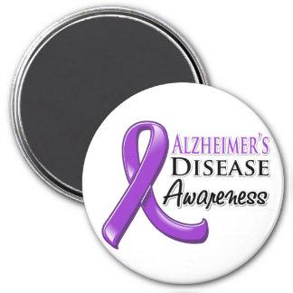 Alzheimer's Disease Awareness Ribbon 3 Inch Round Magnet