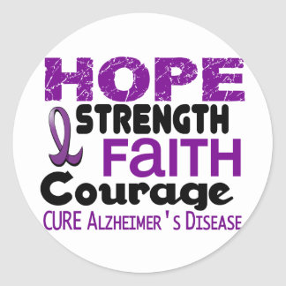 Alzheimer's Disease HOPE 3 Classic Round Sticker