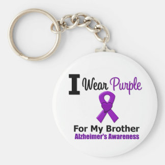 Alzheimer s Disease Purple Ribbon For My Brother Key Chain