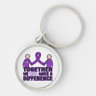 Alzheimer's Disease Together We Will Make A Differ Silver-Colored Round Keychain