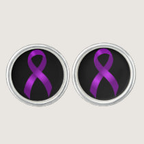 Alzheimers and Crohns & Colitis Purple Ribbon Cufflinks