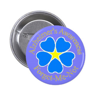 Alzheimer's Awareness Forget me not Ylw 2 Inch Round Button