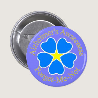 Alzheimer's Awareness Forget me not Ylw Pinback Button