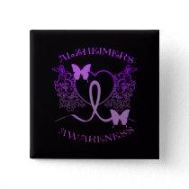 Alzheimers Awareness Purple Butterflies Button