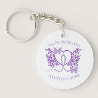 Alzheimers Awareness Purple Butterflies Key Chain