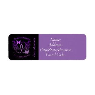 Alzheimers Awareness Purple Butterflies Labels 2