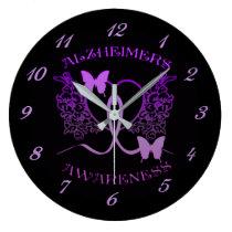 Alzheimers Awareness Purple Butterflies Wall Clock