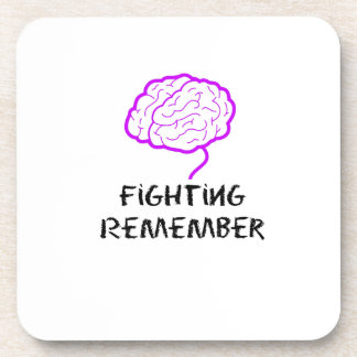 Alzheimers Awareness  Purple Fighting Remember Beverage Coaster
