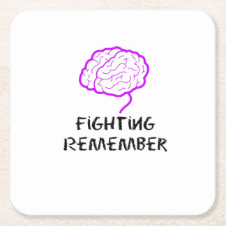 Alzheimers Awareness  Purple Fighting Remember Square Paper Coaster