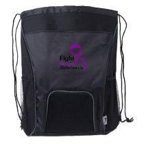 Alzheimers Awareness Purple Ribbon Memories Love Drawstring Backpack