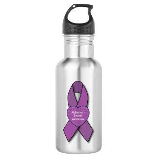 Alzheimer's Awareness Purple Ribbon Stainless Steel Water Bottle