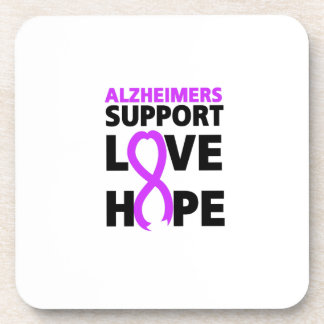 Alzheimers Awareness  Purple Ribbon Support Love Beverage Coaster