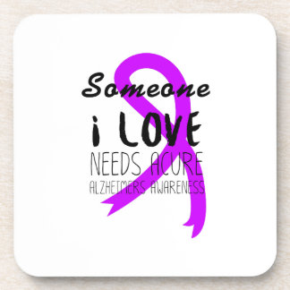 Alzheimers Awareness  Purple Ribbon Support Love Drink Coaster
