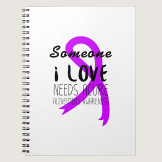 Alzheimers Awareness  Purple Ribbon Support Love Notebook
