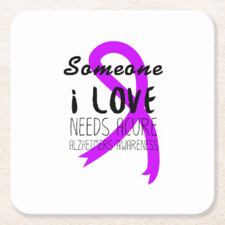 Alzheimers Awareness  Purple Ribbon Support Love Square Paper Coaster